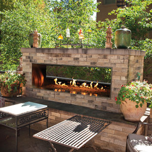 Outdoor Linear See-Through Gas Fireplace